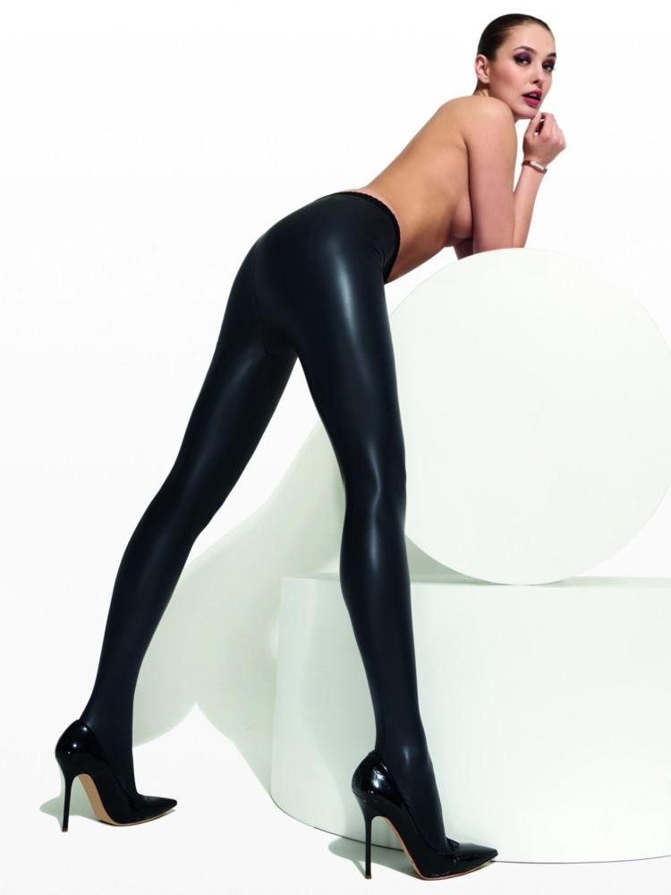 Image of Trasparenze Allen Leather Look Tights-Nero-Medium