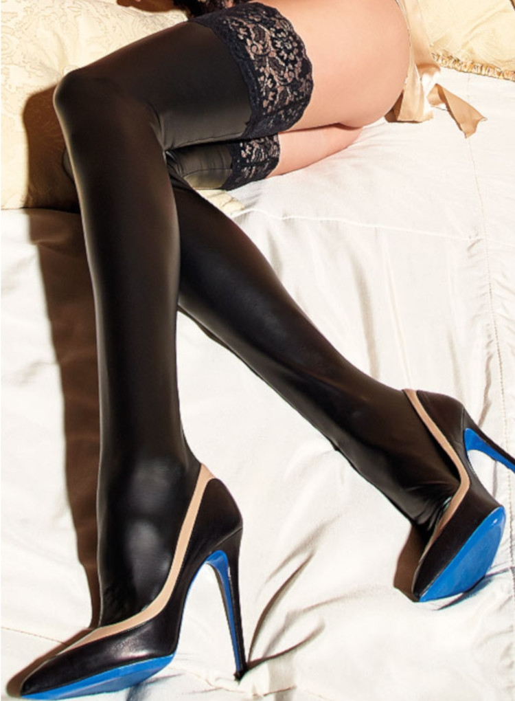 Image of Trasparenze Allen Leather Look Hold Ups-Nero-Small / Medium